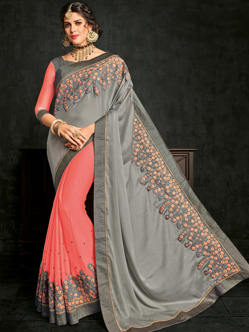 Indian Women Georgette And Moss Chiffon Embroidery Saree With Blouse