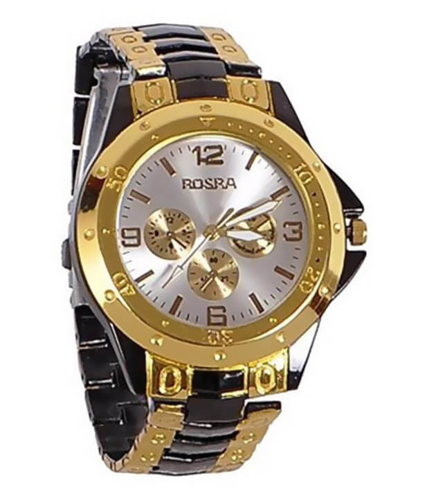 Rosra Golden Steel Analogue Watch