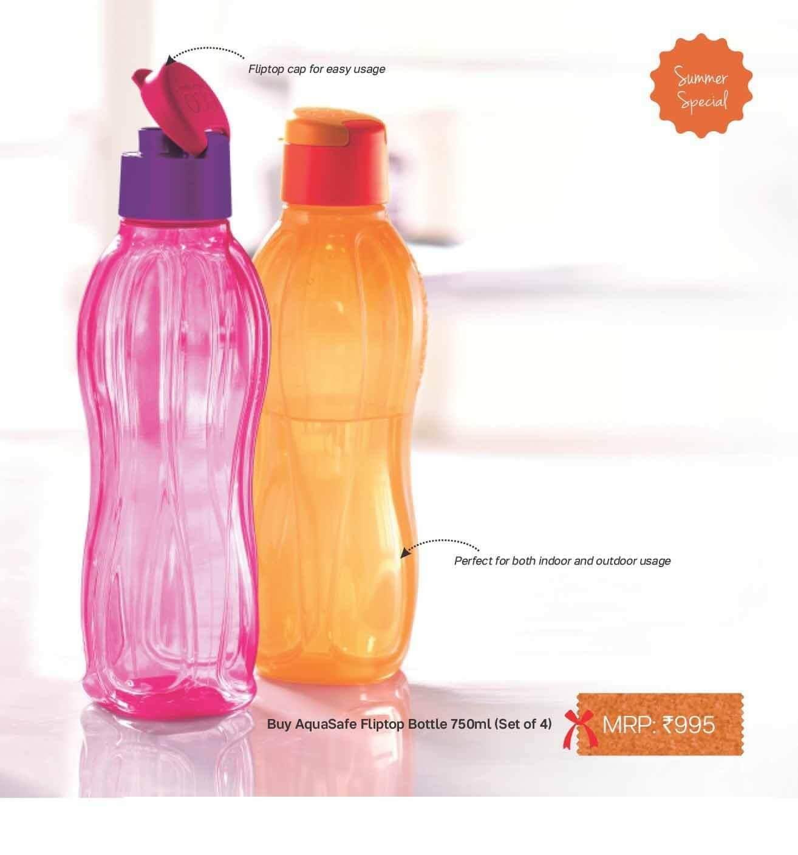 TUPPERWARE 750ml fliptop water bottles, set of 4