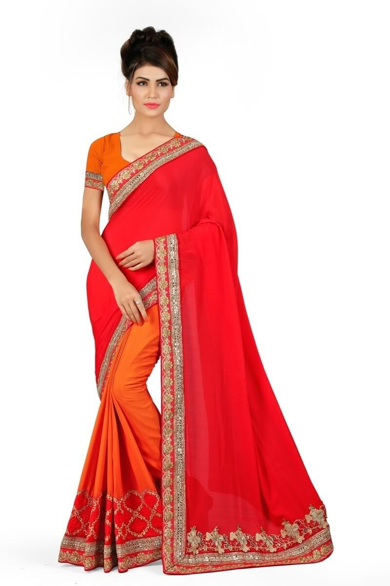 Georgette Border Work Plain Saree With Blouse
