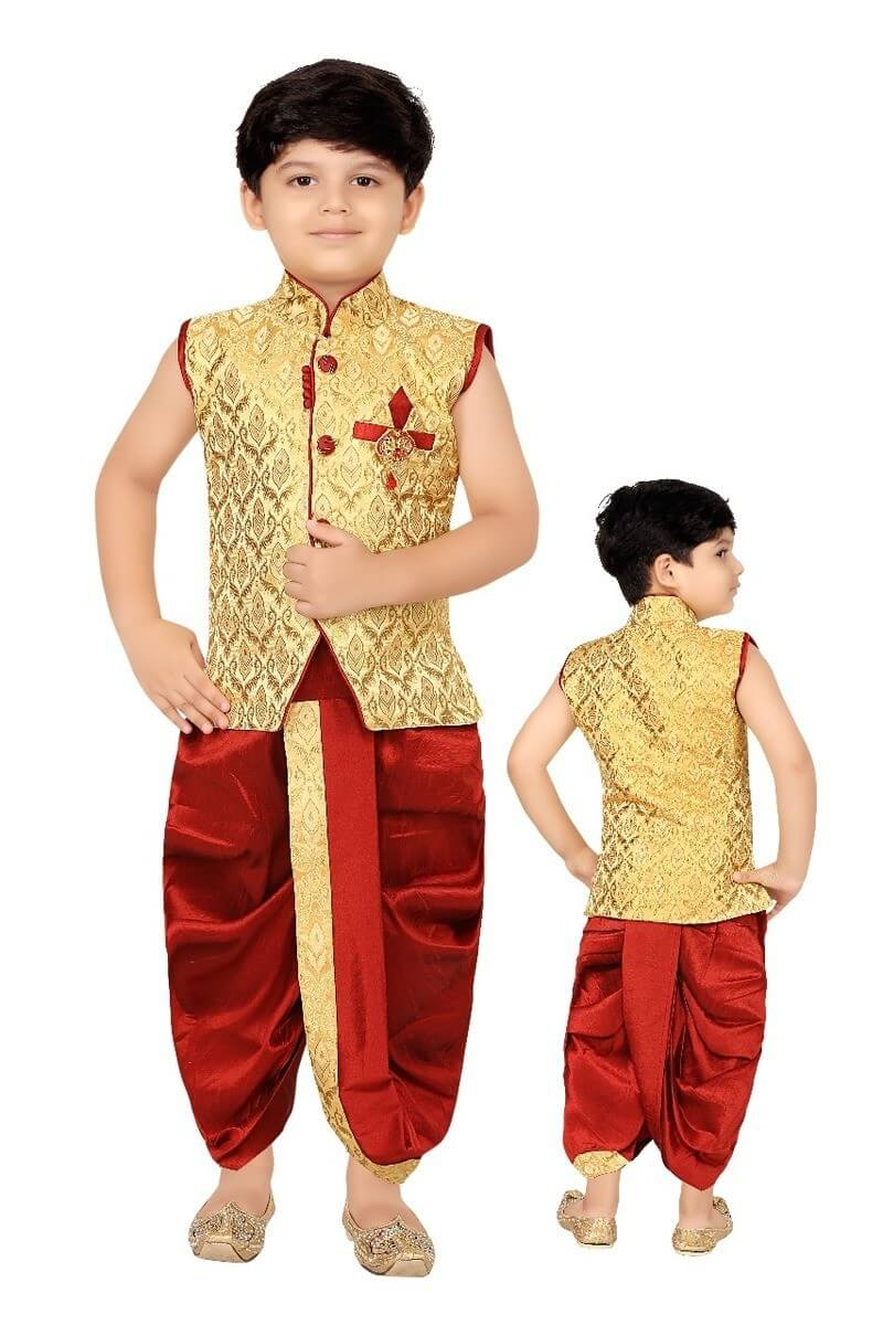 Banarasi Silk Boy Top With Dhoti