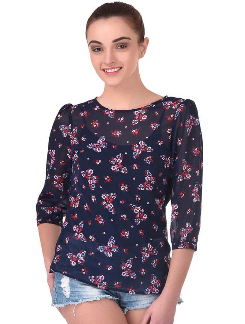 Poly Georgette Floral Butterfly Top