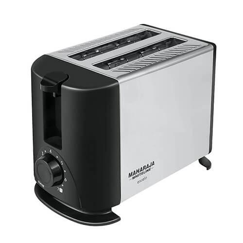 Maharaja Whiteline Excelo Pop Up 600-Watt Pop Up Toaster Metallic Black and Silver