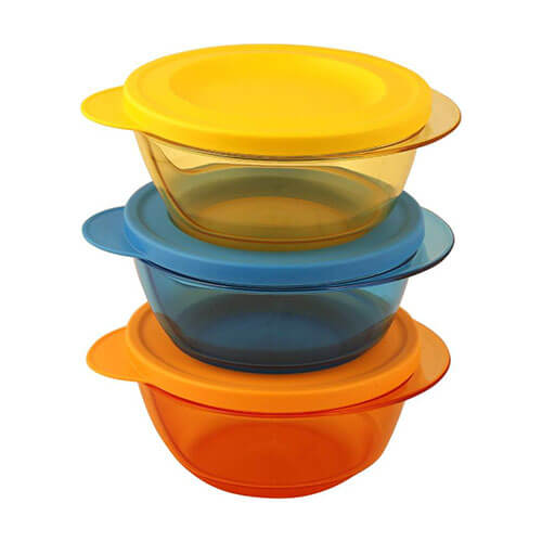 Tupperware Style Diwa Bowl 450 ml Multi-purpose Storage Container(Pack of 3,Yellow, Blue, Orange)