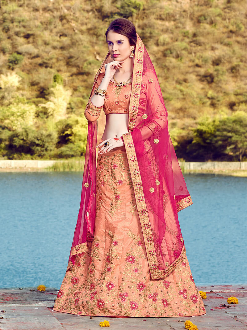 Silk Embroidery A - Line Unstitched Lehenga Choli With Dupatta