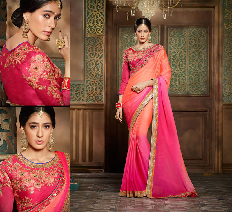 Chiffon Embroidery Saree With Blouse