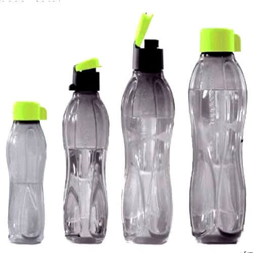 Tupperware Black Bottles in Green caps Normal & FlipTop Designs