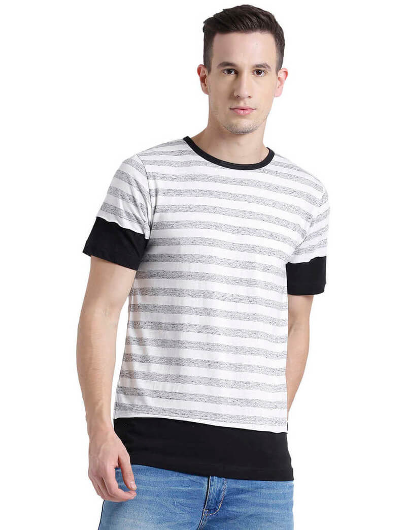 Rigo Brand Cotton Stripes Men T-Shirt