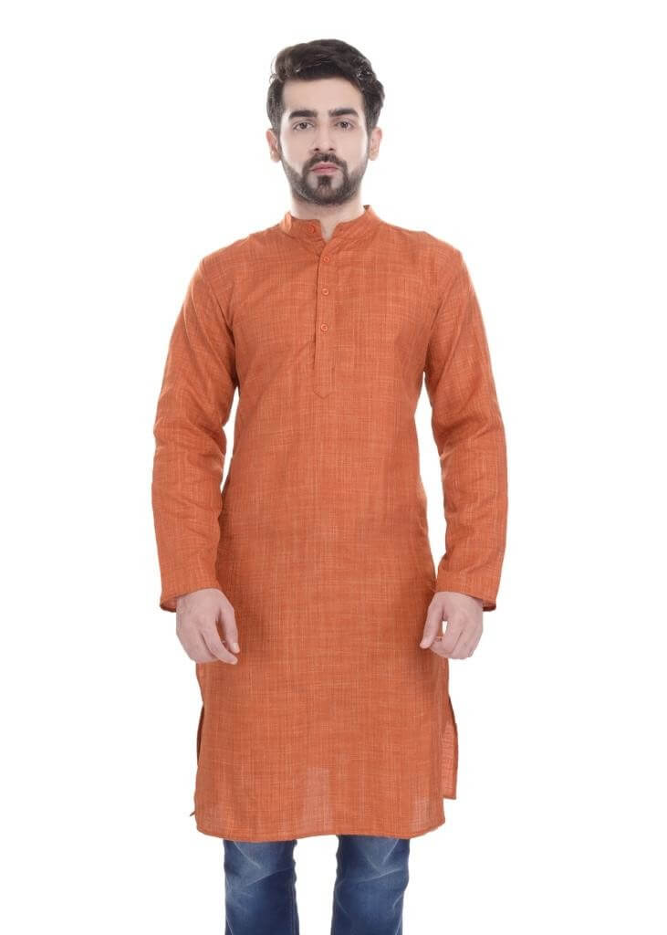 Art Silk Orange Men's Kurta