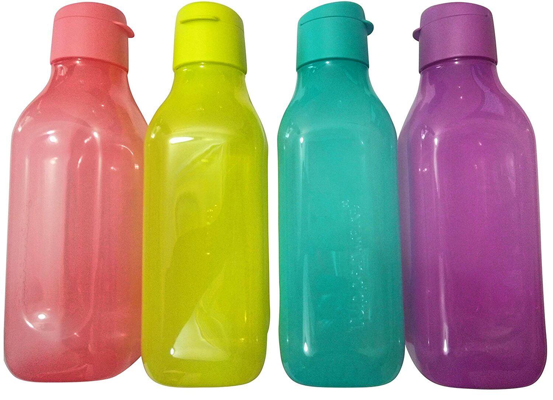 Tupperware Aquasafe Square FlipTop Water Bottle - 1 Litre, Set of 4 ...