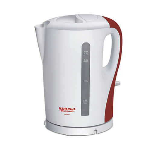 Maharaja Whiteline Primo 1300-Watt Electric Kettle Red and White