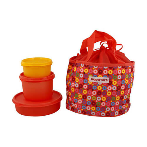 Tupperware Yellow and red color Lunch Box 3 Containers Lunch Box  (1150 ml)