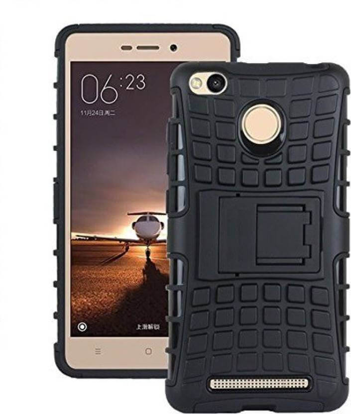 Nutricase Back Cover for Mi Redmi 3S Prime (Black, Shock Proof, Rubber)