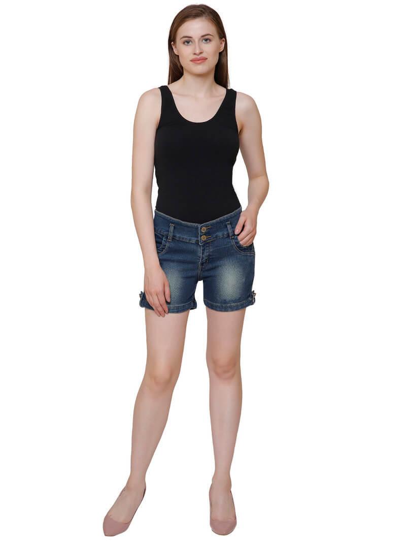 Denim Silk Shaded Shorts