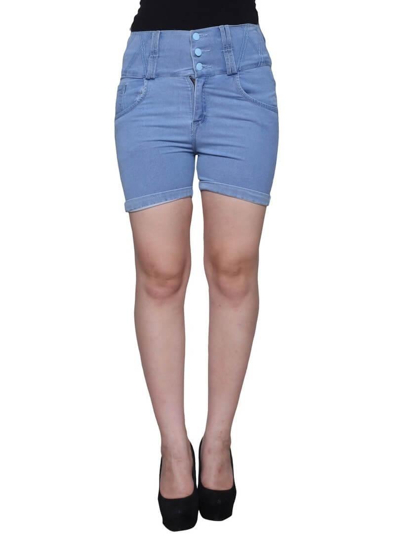 Denim Solid Shorts
