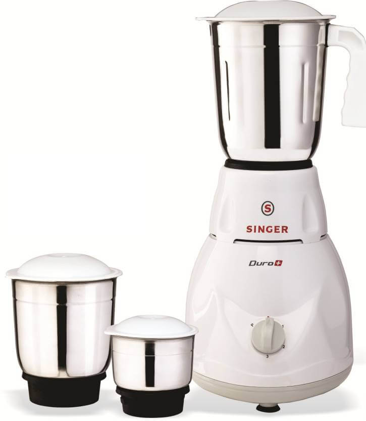 Singer Duro Plus 500-Watt Mixer Grinder with 3 Jars  White