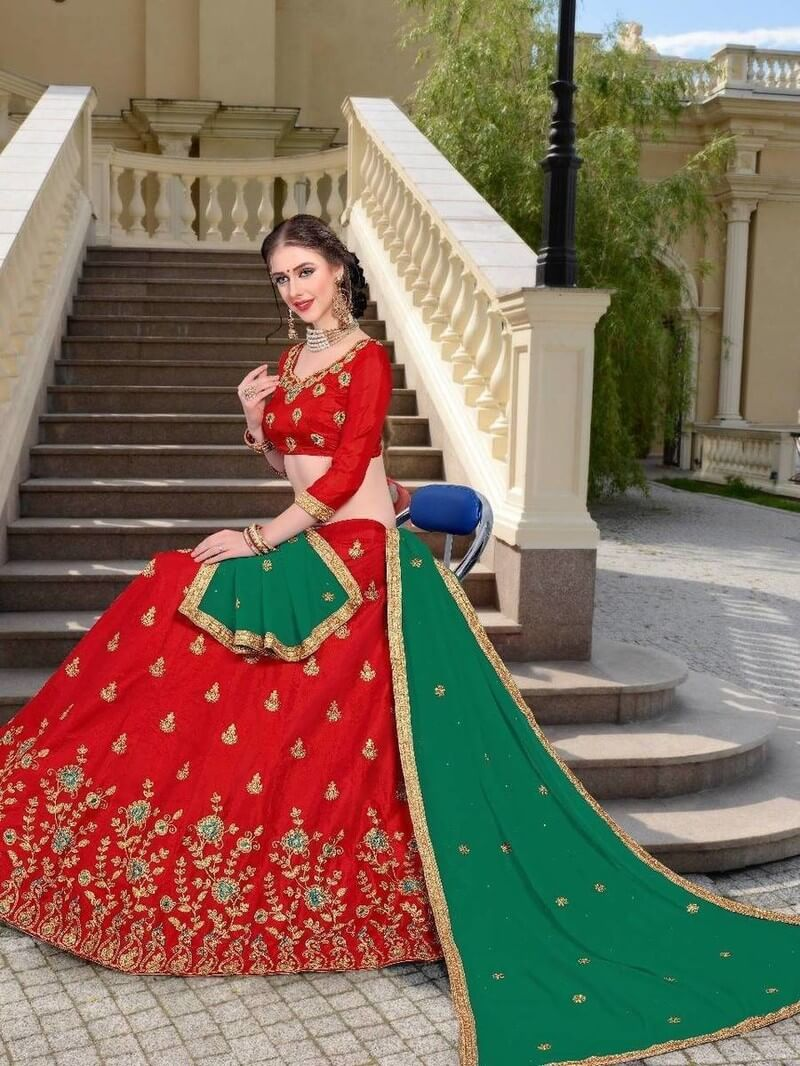 Indian Lady By Sanskar Unstitched Lehenga Catalog(Red with green Duppata)