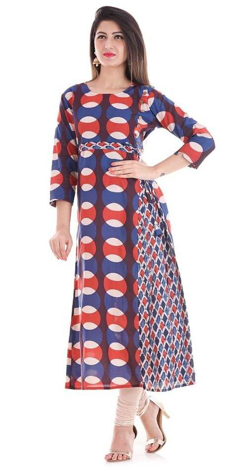 Cotton Geometrical Printed A - Line Kurti