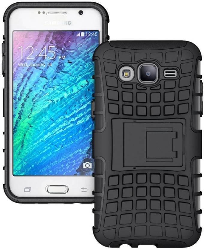 Nutricase Back Cover for Samsung J2 (Black, Shock Proof, Rubber)