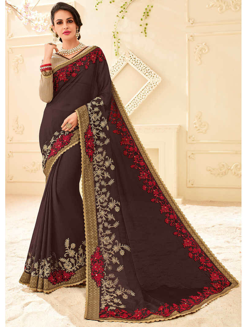 Indian Women Chiffon Saree With Blouse