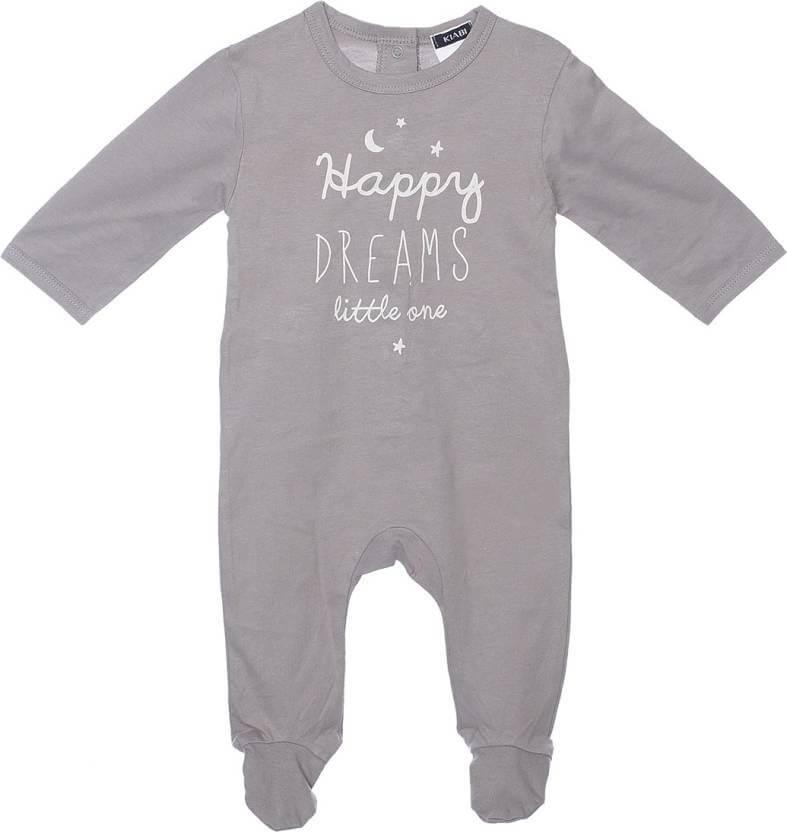Indirang Baby Boys & Baby Girls Grey Sleepsuit