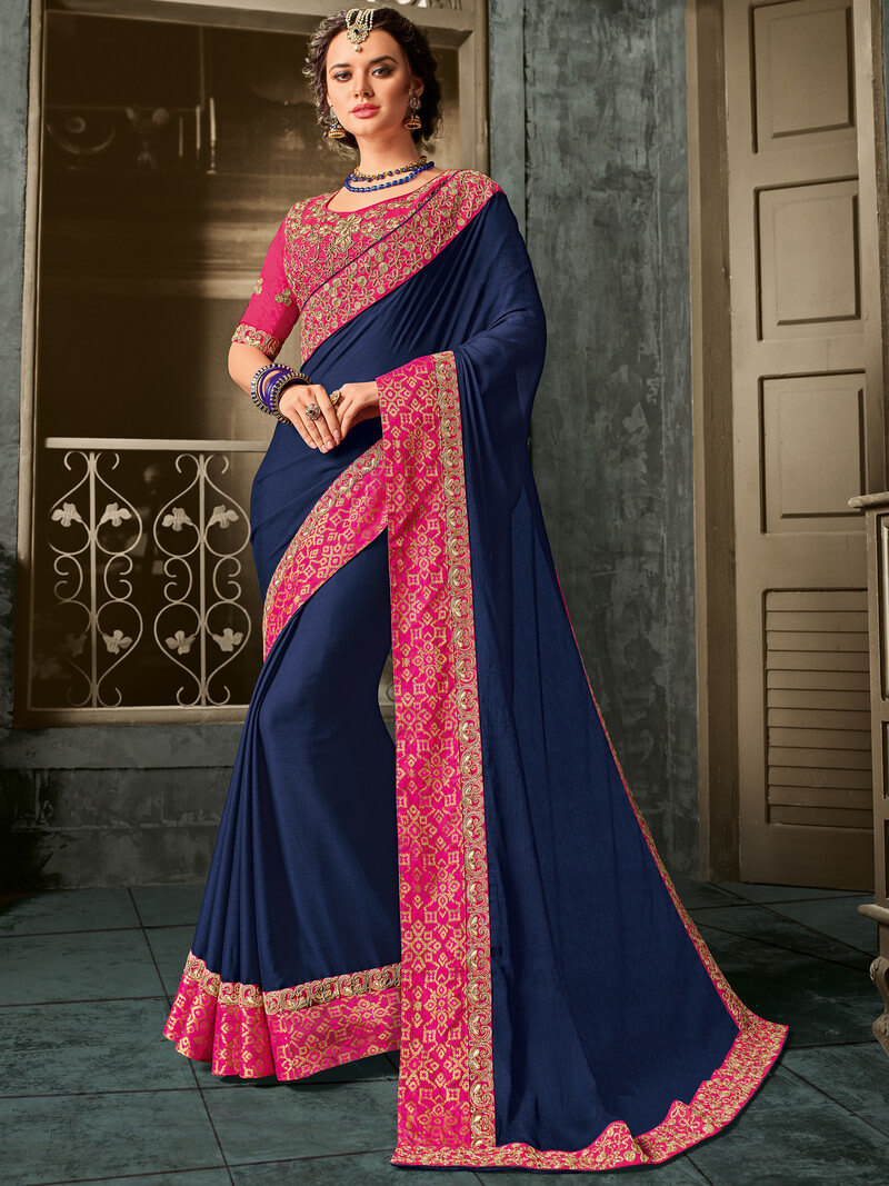 Indian Women Moss Chiffon Embroidery Saree With Blouse