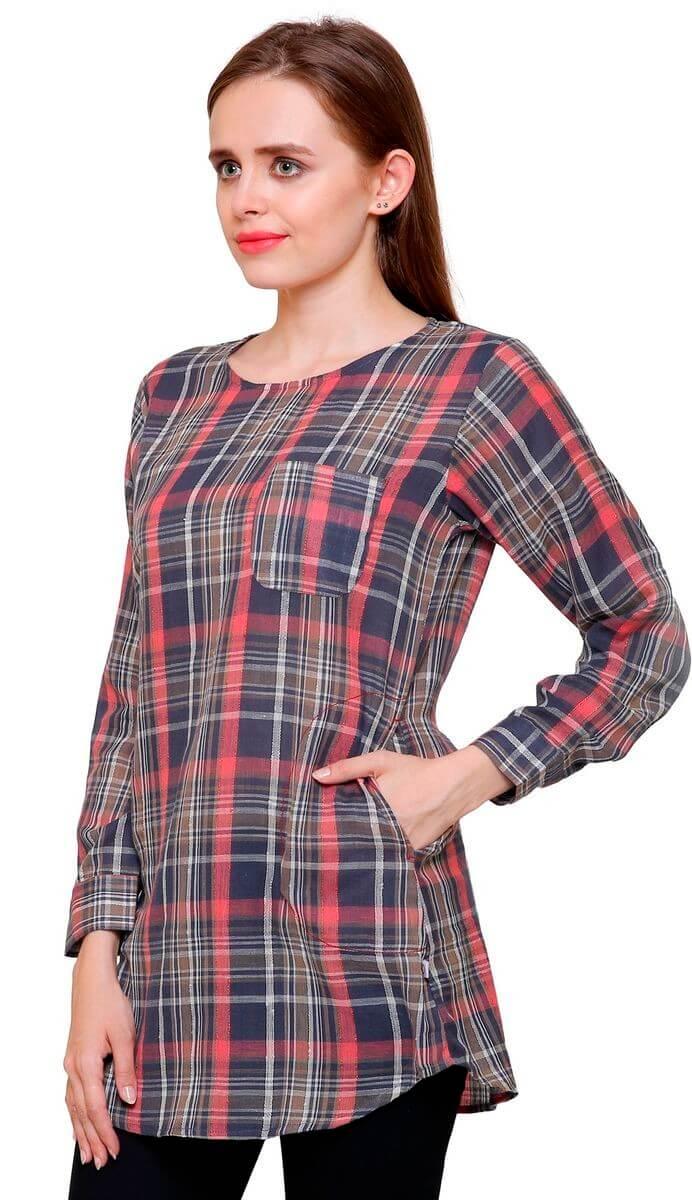 Cotton Checks Shirt Style Top (38)