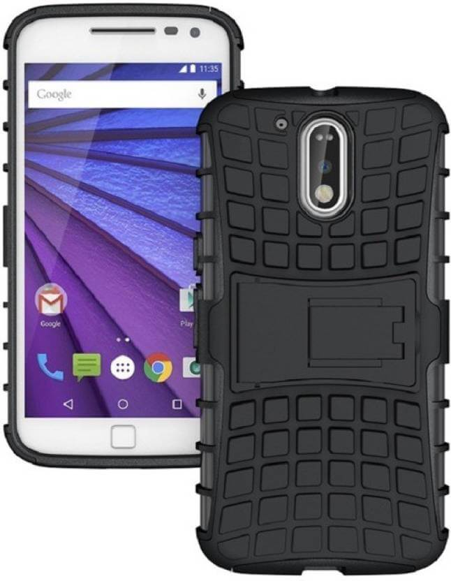 Nutricase Back Cover for Moto G4 (Black, Shock Proof, Rubber)
