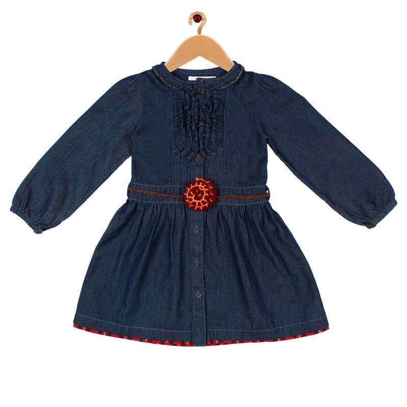 Cotton Solid Girls Dress
