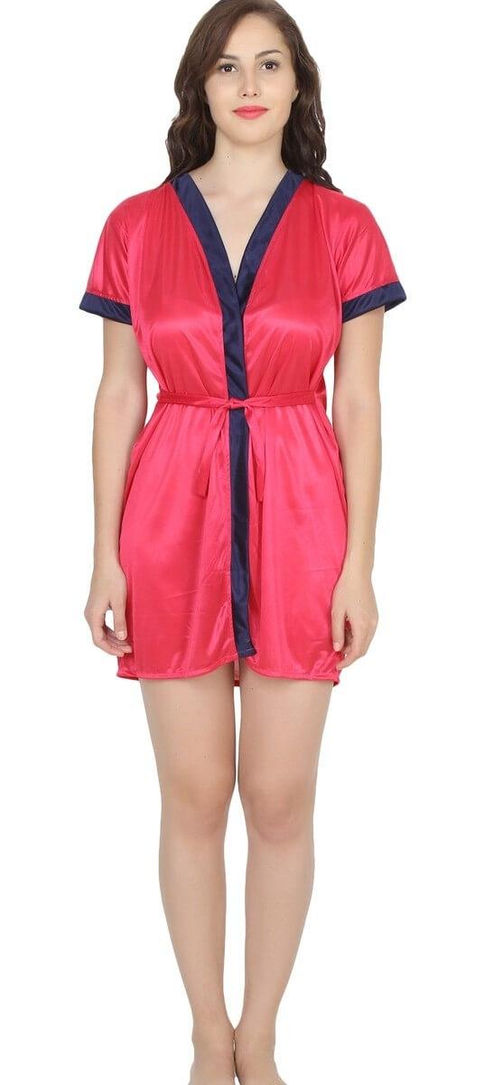 Poly Satin Solid Nightwear