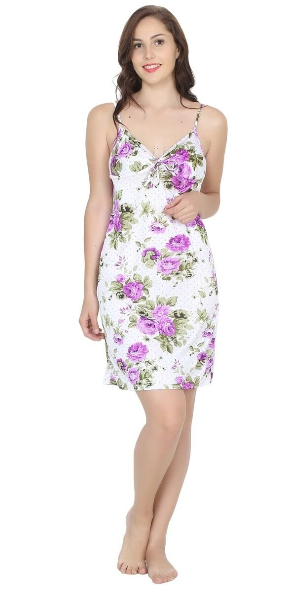 Poly Satin Floral Printed Nightwear