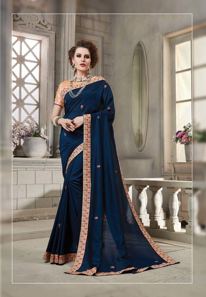 Georgette Border Work Saree With Blouse
