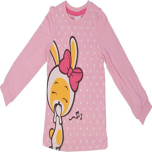 Indirang Girls Printed Cotton T Shirt  (Pink, Pack of 1)