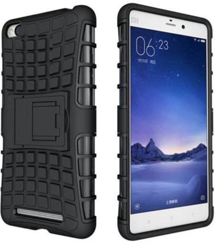 Nutricase Back Cover for Mi Redmi 3S (Black, Shock Proof, Rubber)