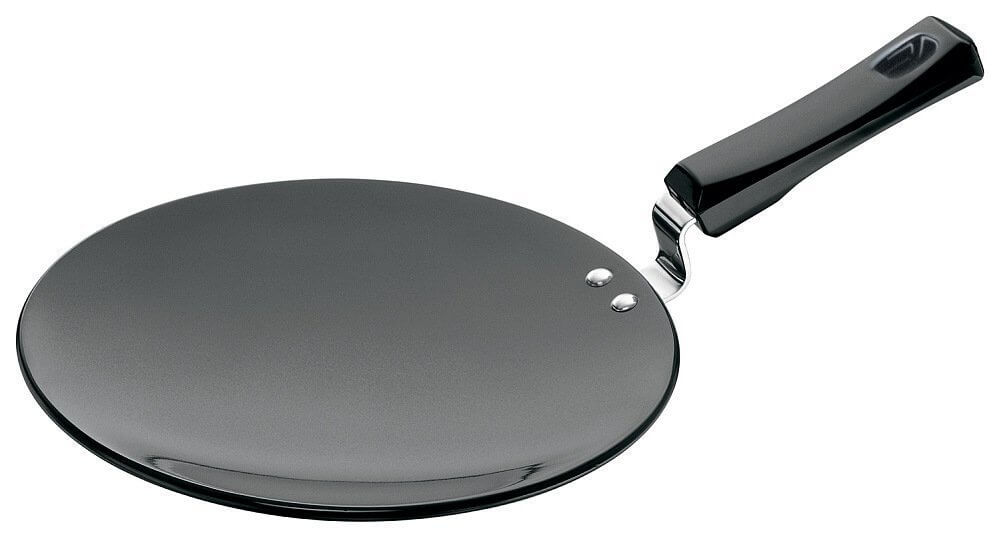 Hawkins Futura Hard Anodised Tawa with Plastic Handle, 26cm, Black