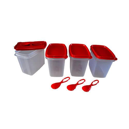 Tupperware Plastic Canister Set, 570ml, Set of 4, Multicolour