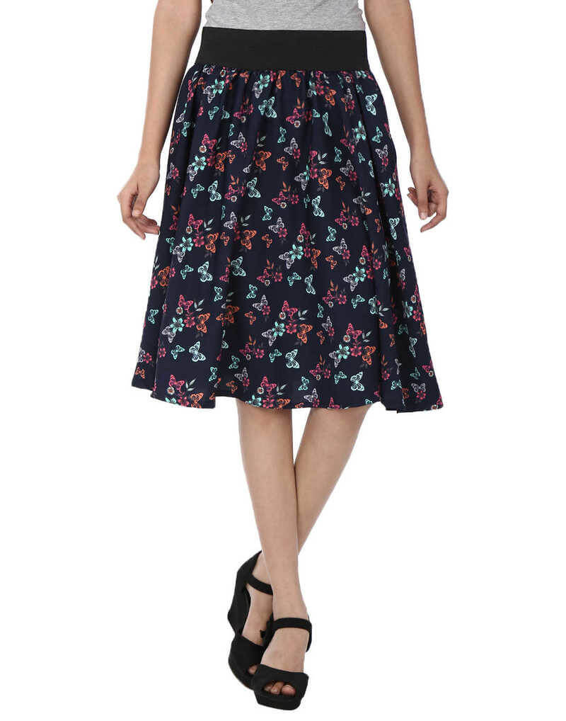 Polyester Printed A-Line Skirt