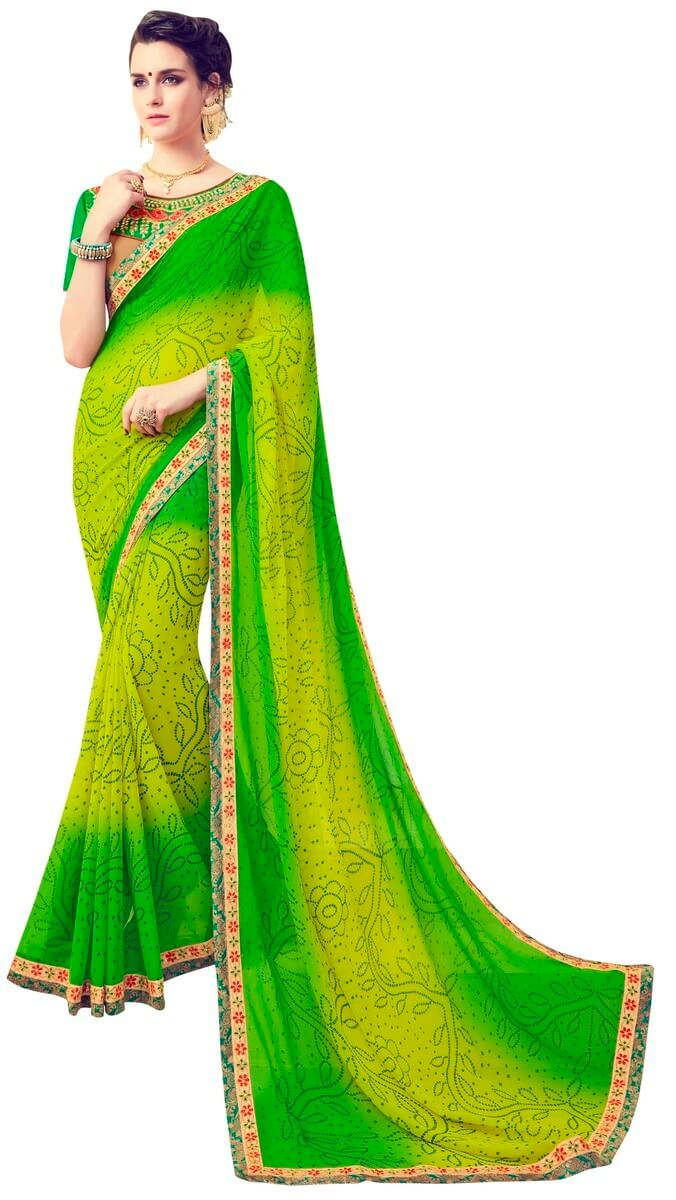 Faux Georgette Printed Saree With Blouse