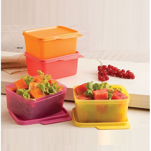 Tupperware Keep Tab Plastic Container Set, 500ml, Set of 4, Multicolour (TUP_B01AQEW3J0)