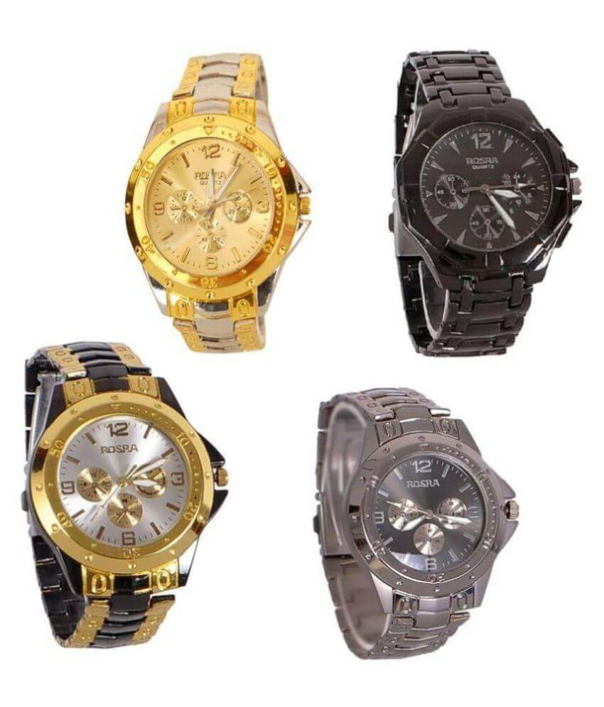 Rosra Multicolour Metal Analog Watch - Pack of 4