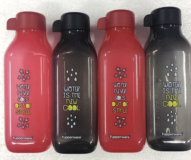 Tupperware 500ml square water bottles, printed, set of 4pcs