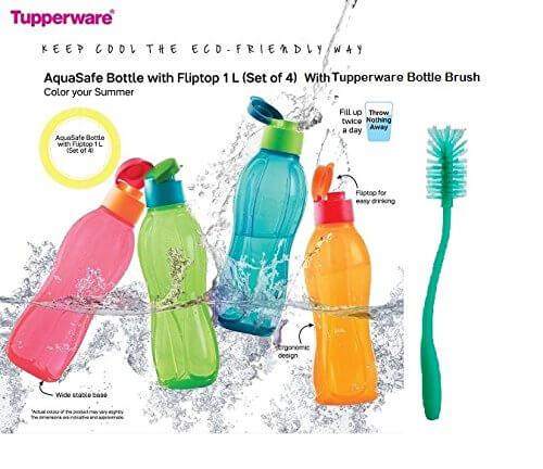 Tupperware Aquasafe Bottle with Fliptop 1L(set of 4) With Tupperware Bottle Brush