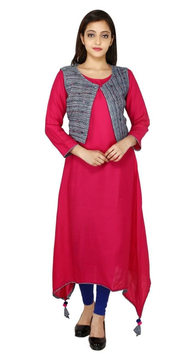 Rayon Staple Embroidery A - Line Kurti