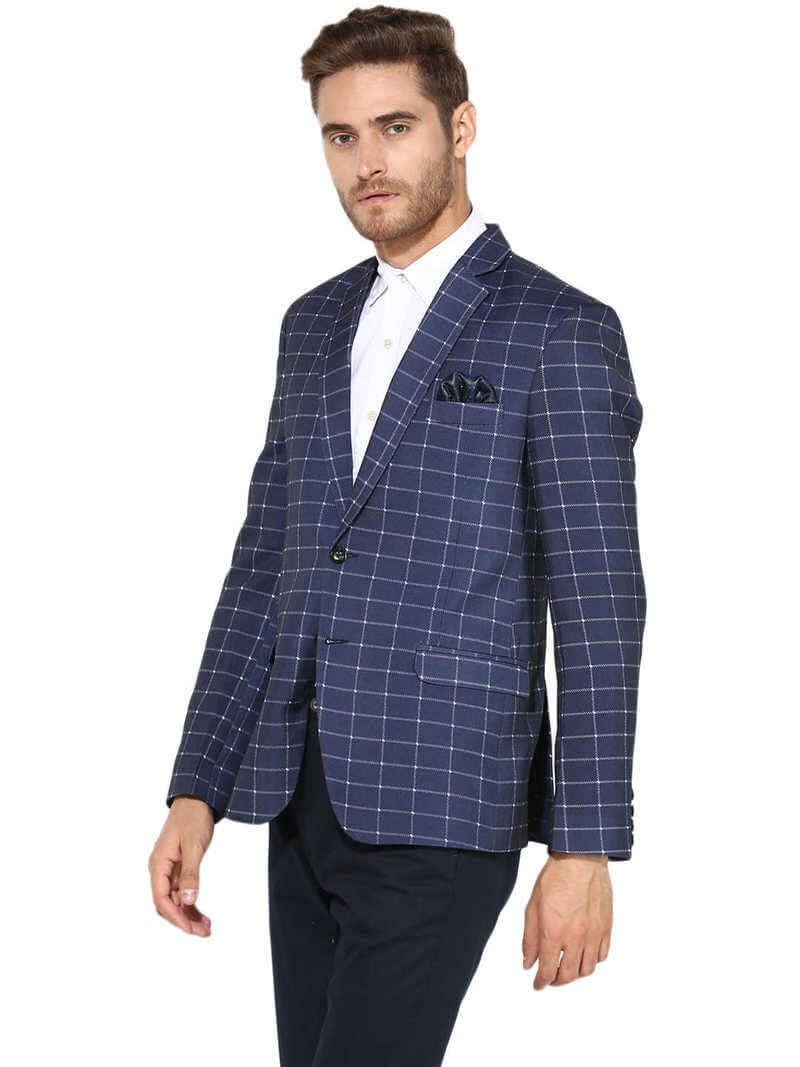 Cotton Blend Self Design Men Blazer (38)