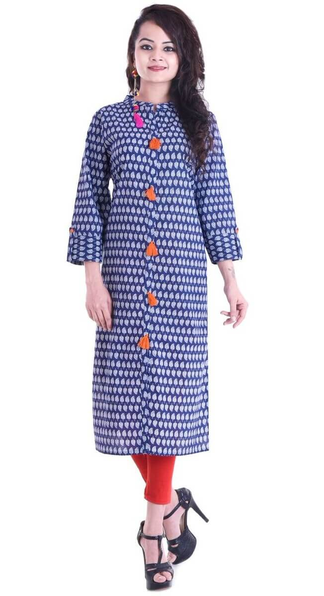 Cotton 60-60 Printed Straight Kurti