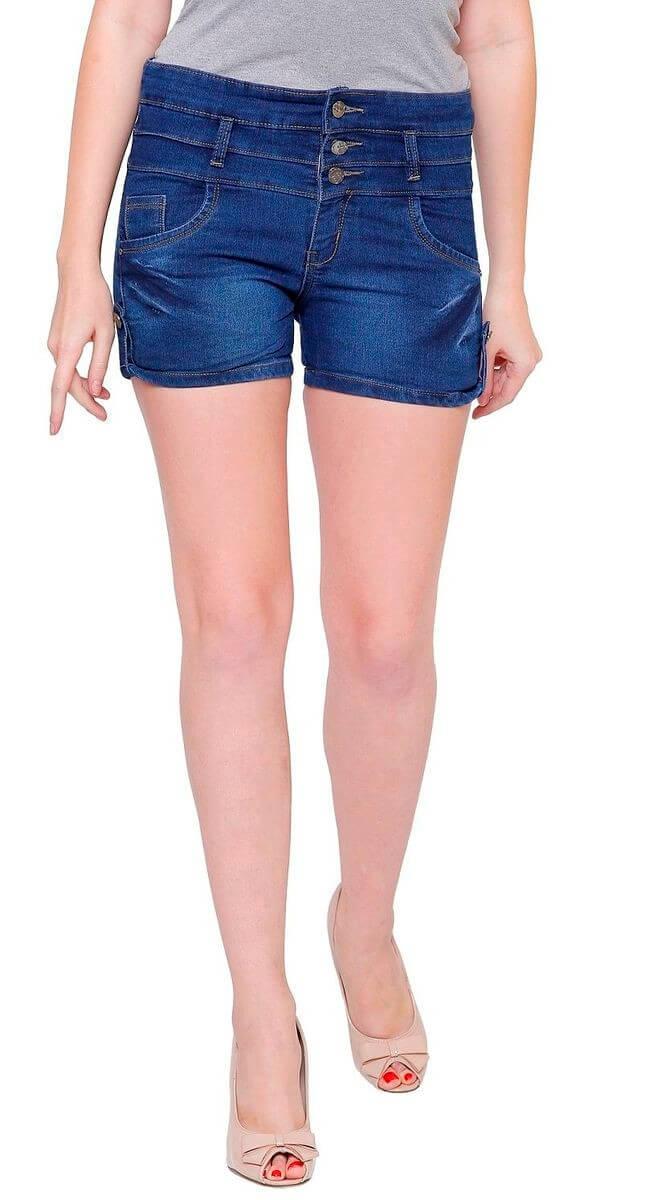 Denim Silk Solid Women Shorts