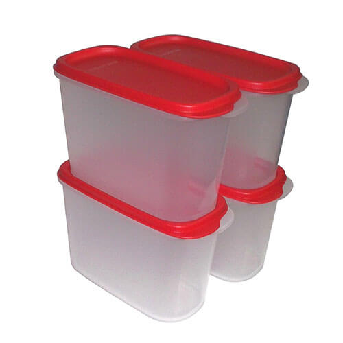 Tupperware New Smart Saver Plastic Container Set, 1.7 Litres, Set of 4, Transparent