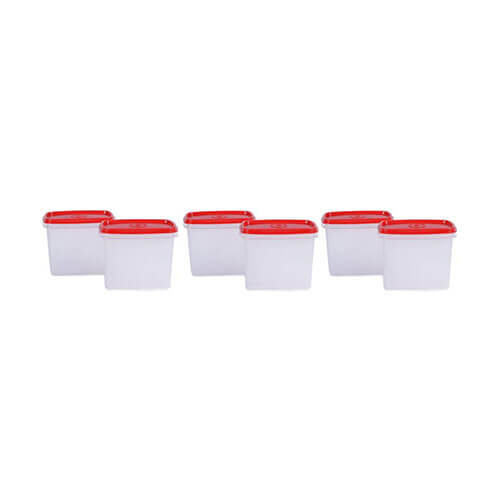 Tupperware - 1.1 L Polypropylene Multi-purpose Storage Container  (Pack of 6, Red)