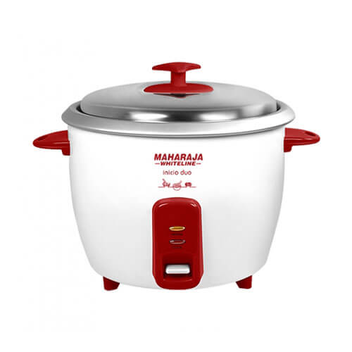 Maharaja White Line Inicio Duo 750-Watt Rice Cooker Red and White