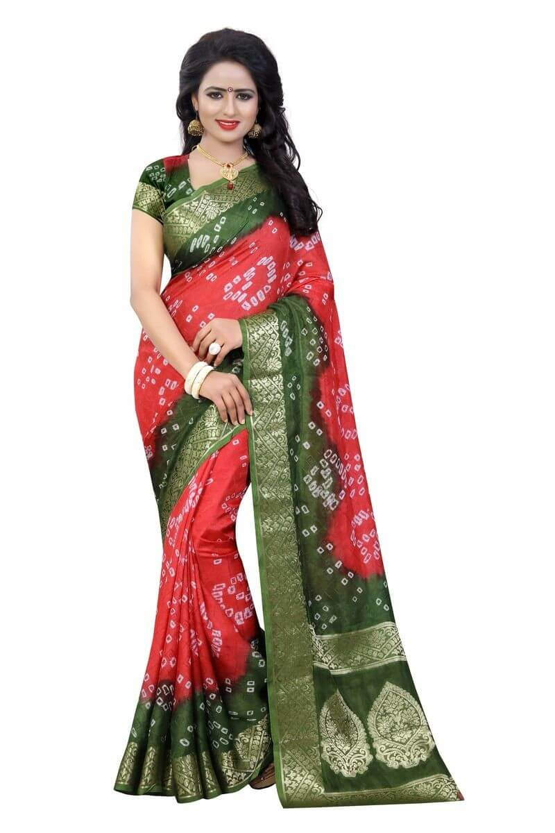 Art Silk Bandhani Saree With Blouse